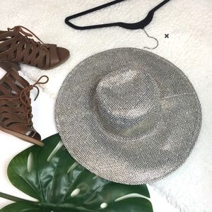 Boho Festival Metallic Black & Gold Floppy Hat